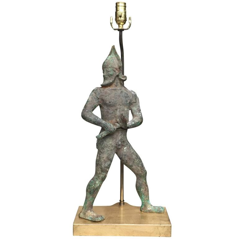 Late 19th-Early 20th Century Etruscan Style Figural Bronze Sculpture as Lamp