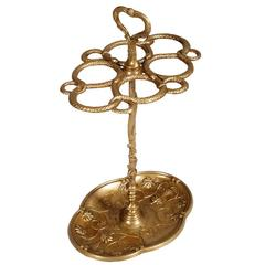 Art Nouveau Gilded Bronz Umbrella Stand Richly Decorated Snakes and Floral Motif