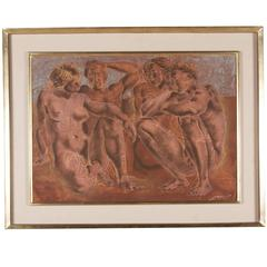 Neoclassical Scene Lithograph, French, 1950