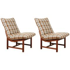 Pair of Attributed to Milo Baughman Upholstered Side Chairs