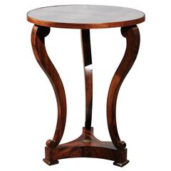 French Mahogany Restauration Style Guéridon Table with Mirrored Top, circa 1870