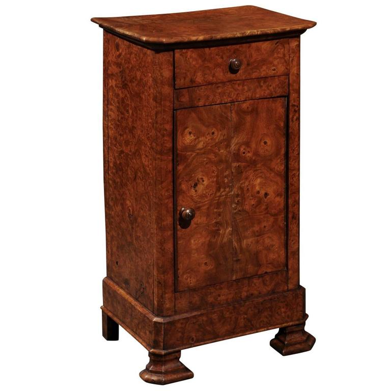 English Burl Wood Pot Cupboard from the 1880s with Single Drawer and Door For Sale