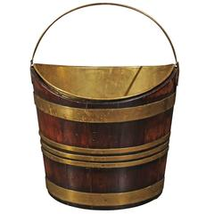 English Mahogany and Brass Peat Bucket with Handle from Mid-19th Century