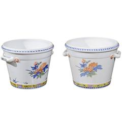 Pair of French Faience Cache Pots Made for Tiffany & Co in the Mid-20th Century