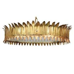 Spanish Gilt Metal Crown Chandelier with Leaf Motifs from the 1950s