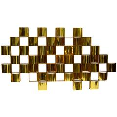 Magnificent Mid-Century Brass Wall Sculpture