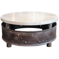 Vintage Industrial Wheel with Limestone Top as Coffee Table