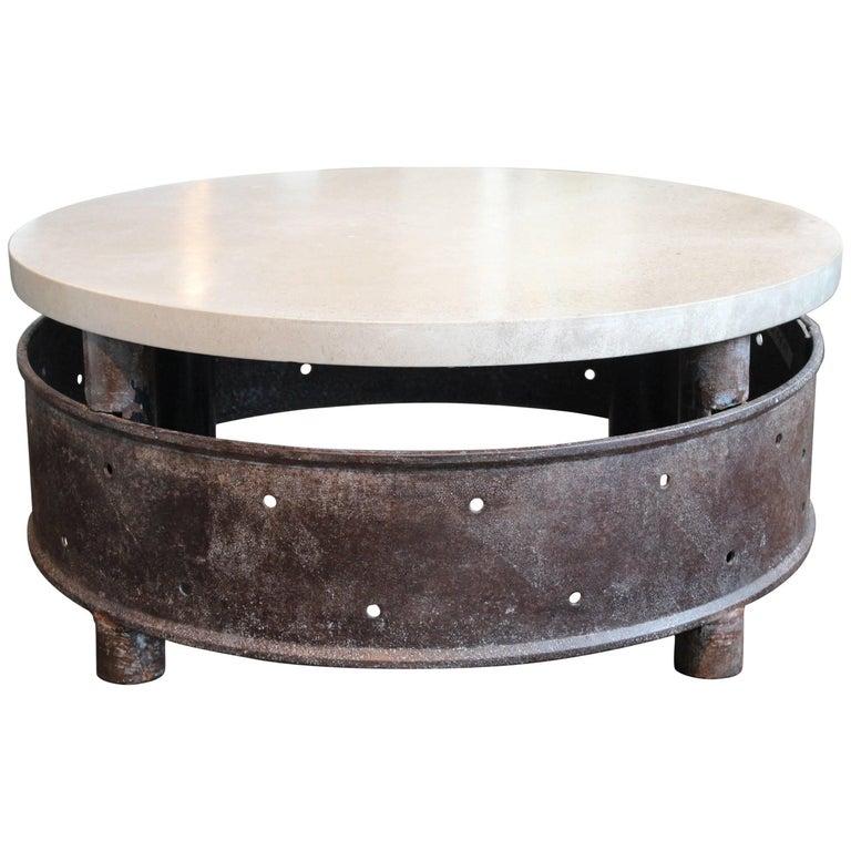 Industrial Coffee Table On Wheels At 1stdibs: Vintage Industrial Wheel With Limestone Top As Coffee