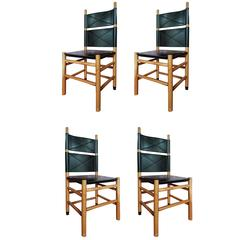 Carlo Scarpa Set of 4 Italian Bernini Walnut Chairs with Black Leather Seat 1977