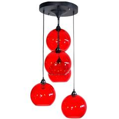 Mid-20th Century Red Murano Glass Five-Ball Chandelier, 1960s