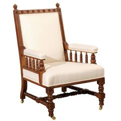 English Oak Armchair Carved Legs, Arms and Frame on Wheels