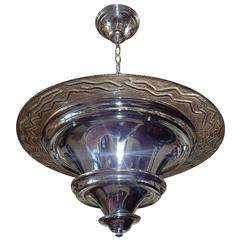 Nickel-Plated Moderne Light Fixture