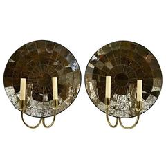 Pair of Large Mirrored Back Sconces