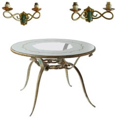 Hollywood Regency Round Pattern Mirrored Coffee Table with 1930s French Sconces