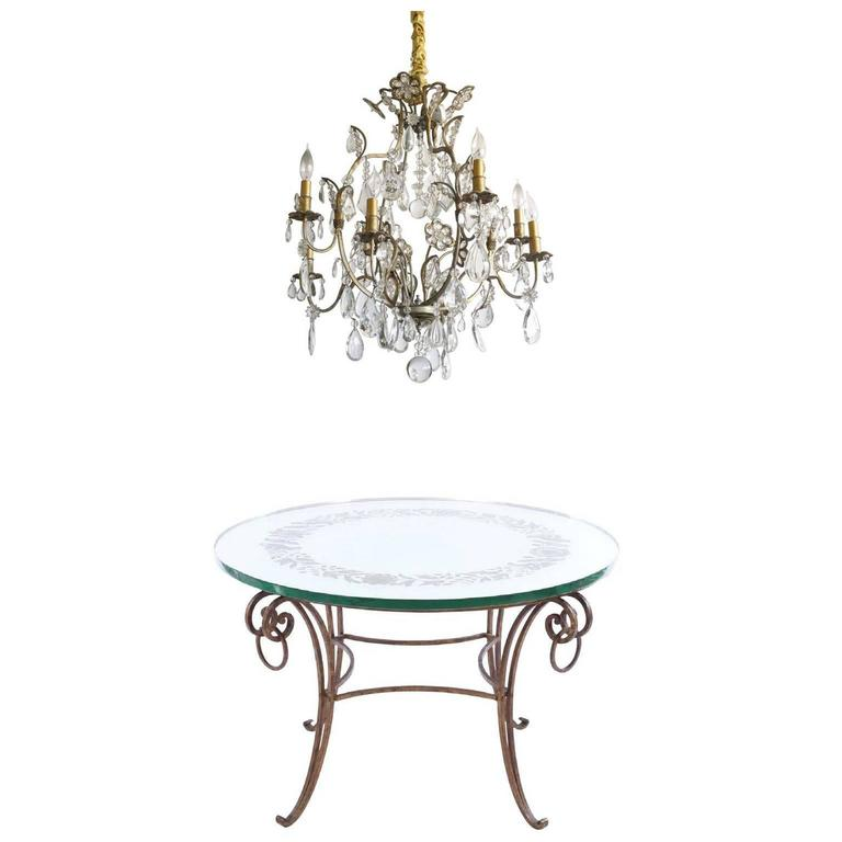 French Mirrored Coffee Table And Hollywood Regency Chandelier For Sale