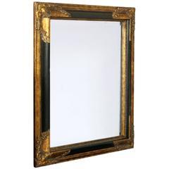 Art Deco Mirror with Carved Golden Black Frame of the Florentine Craftsmanship