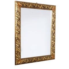 Art Nouveau Mirror with Carved Golden Frame, Florentine Crafts, 1930s-1940s