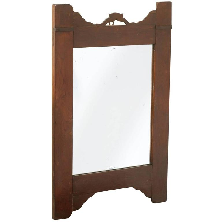 Late 19th Century Country Art Nouveau Mirror, Walnut, Restored Finished Shellac