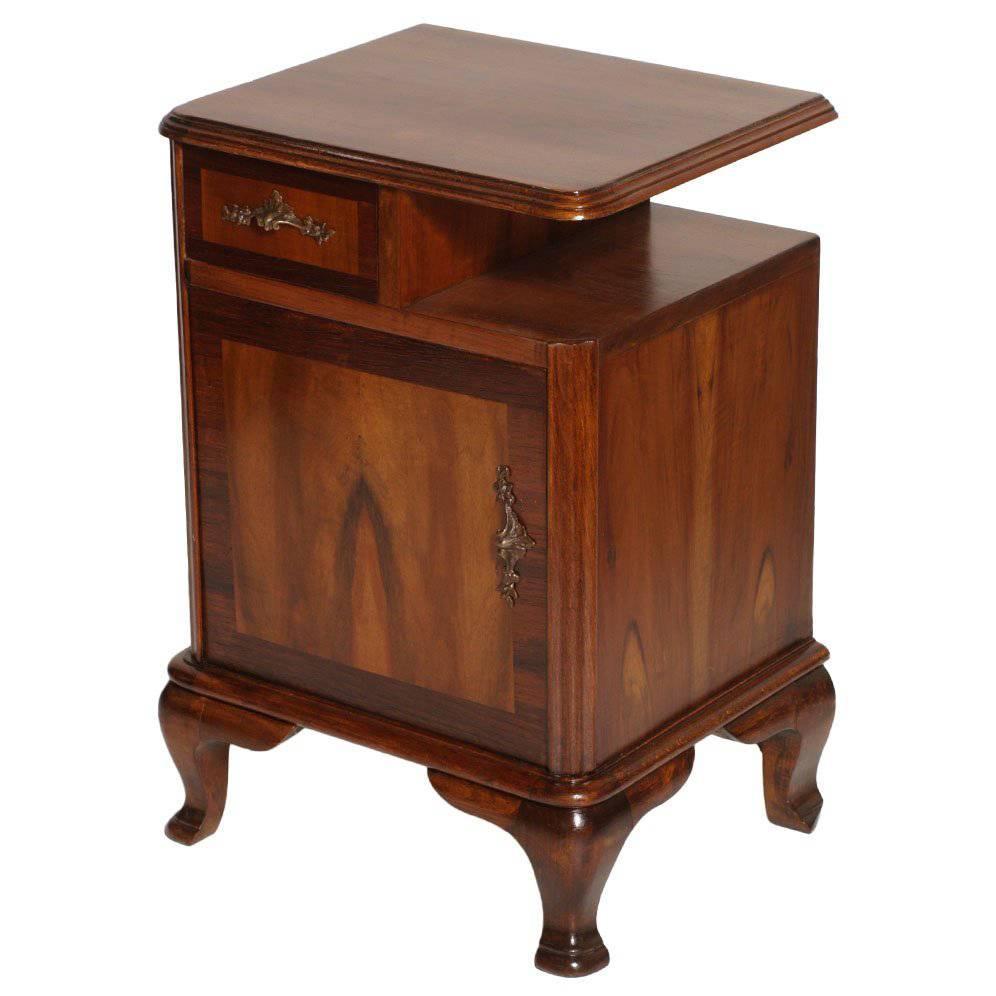 1920s Italian Baroque Bedside Table Nightstand Massive Walnut and Walnut Applied