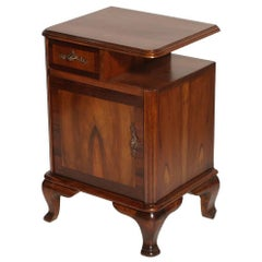 1920s Italian Baroque Bedside Table Nightstand Massive Walnut and Walnut Applied