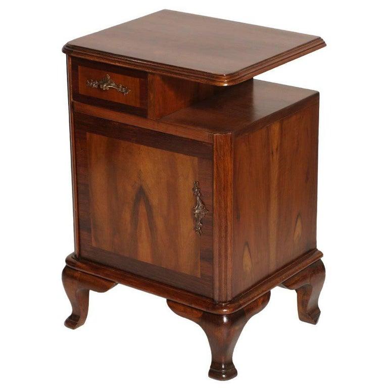 1920s Italian Baroque Bedside Table Nightstand Massive Walnut and Walnut Applied For Sale