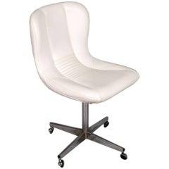 Revolving Easy-Chair, Chromed Steel, White Leather Charles E Ray Eames Manner