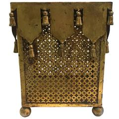 Italian Hollywood Regency Gilt Tassel Motif Wastepaper Basket