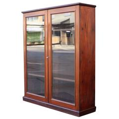 English Standing Bookcase of Mahogany with Glazed Doors