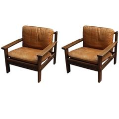 1980s Pair of Brazilian Style Leather Chairs in a Wide Wooden Frame from France