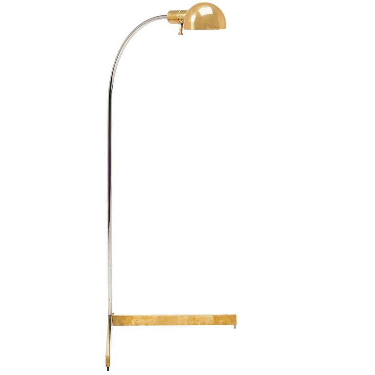 Brass and Chrome Floor Lamp by Cedric Hartman