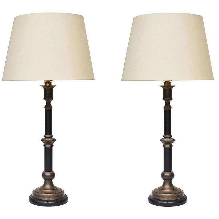 Pair Of Candlestick Table Lamps For Sale