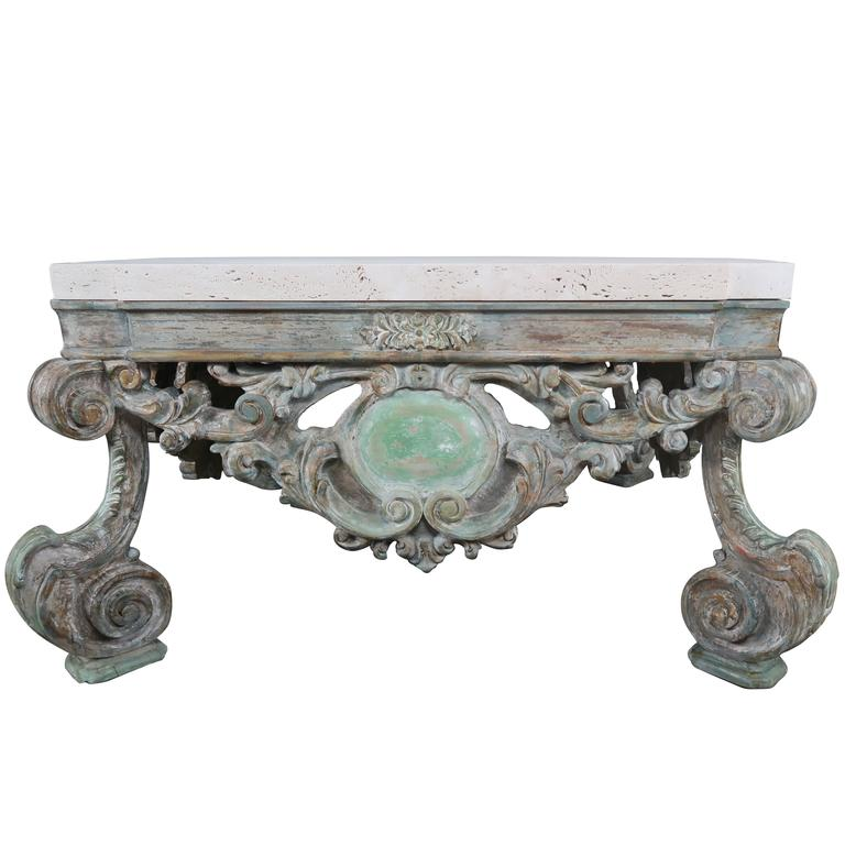 French Rococo Style Carved Coffee Table With Travertine Top For Sale At 1stdibs