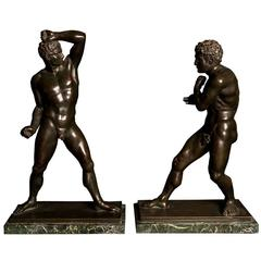 Impressive Pair of Grand Tour Bronze Pugilists, Green Marble Base, 19th Century