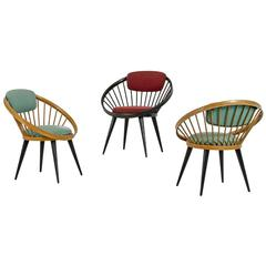 Three Round Lounge Chairs by Yngve Ekström, Italy, 1960s