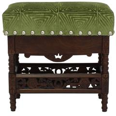 Spanish Stool in Apple Green Velvet