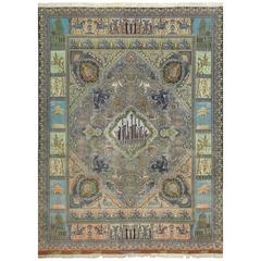 Pictorial Vintage Tabriz Persian Rug