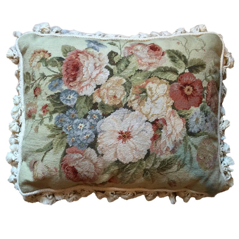 Handmade Decorative Pillows, Vintage French Style Aubusson Pillow Cushion covers For Sale