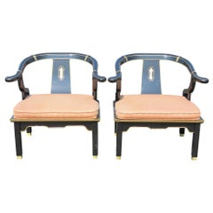 Pair of Asian Style Ebonized Arm Chairs In the style of James Mont