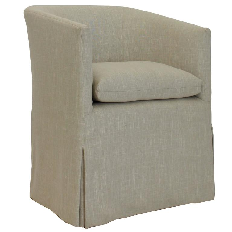 Transitional Barrel Dining Chair with Skirted Slipcover and Loose Cushion