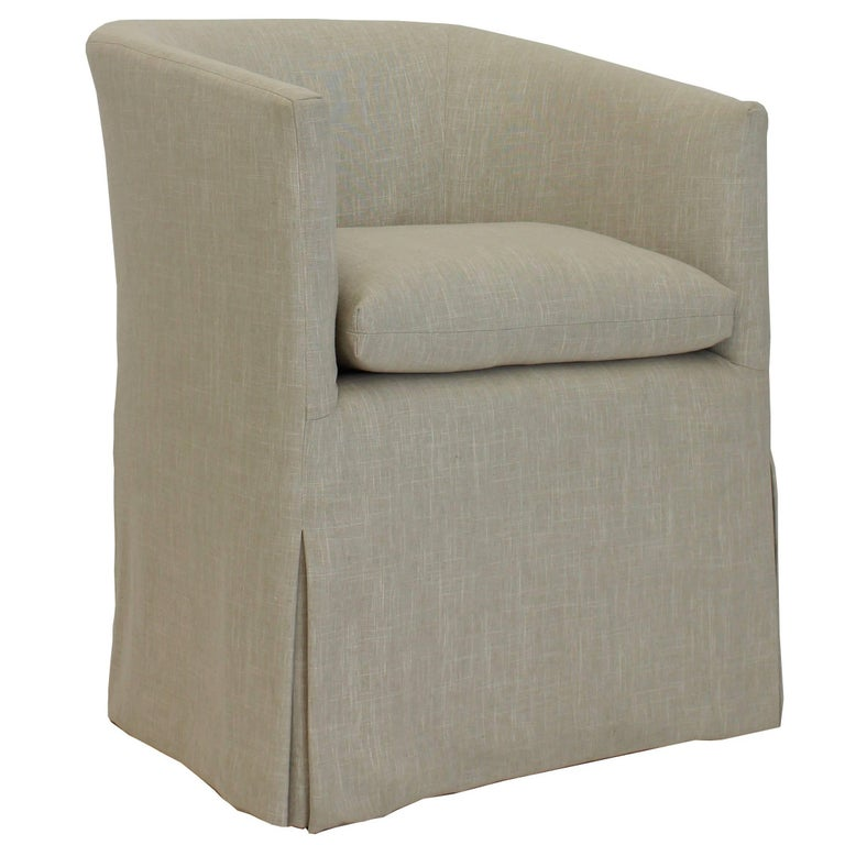Tremendous Transitional Barrel Dining Chair With Skirted Slipcover And Loose Cushion Ibusinesslaw Wood Chair Design Ideas Ibusinesslaworg