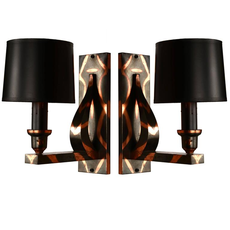 Pair of Japan-Finish Sconces For Sale