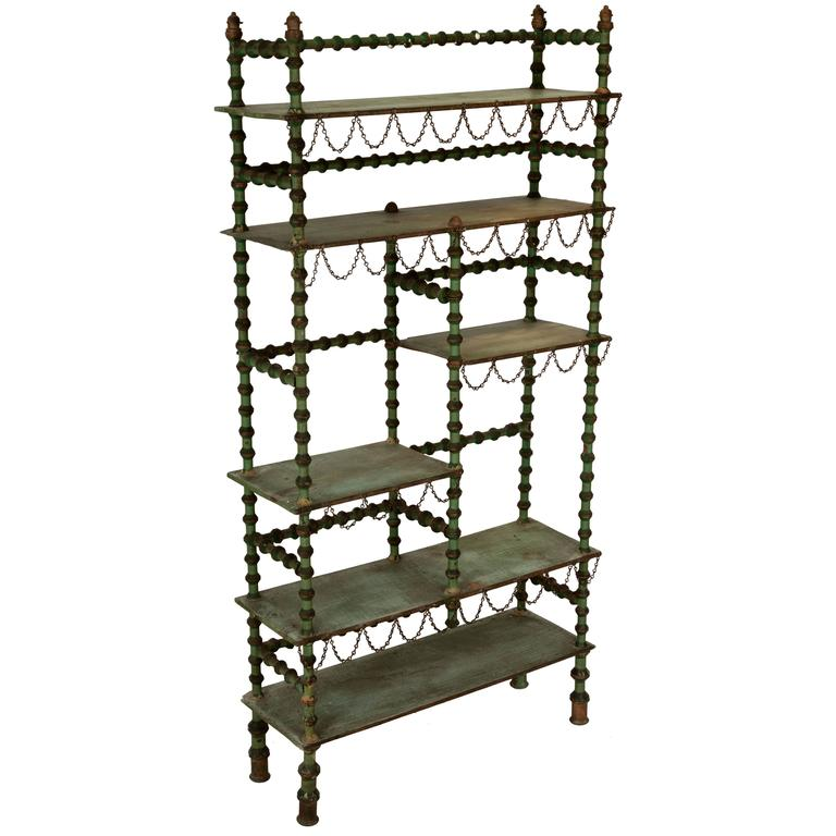 Ornate Spool Shelving Unit For Sale