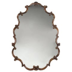 Large 1940s French Regency Style Wall Mirror with Scrolled Fruitwood Frame