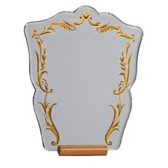 Scrolling Vanity Mirror on Oak Stand, circa 1940s