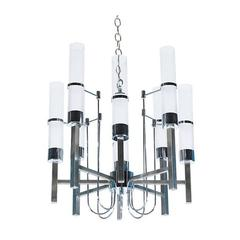 Mid-Century Chrome and Glass Nine-Light Chandelier