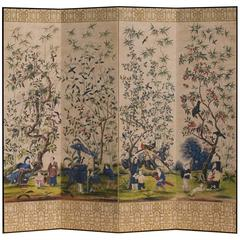 Impressive Hand-Painted Four-Leaf Chinoiserie Room Screen