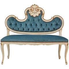 Louis XVI Style Banquette or Settee in Blue Velvet