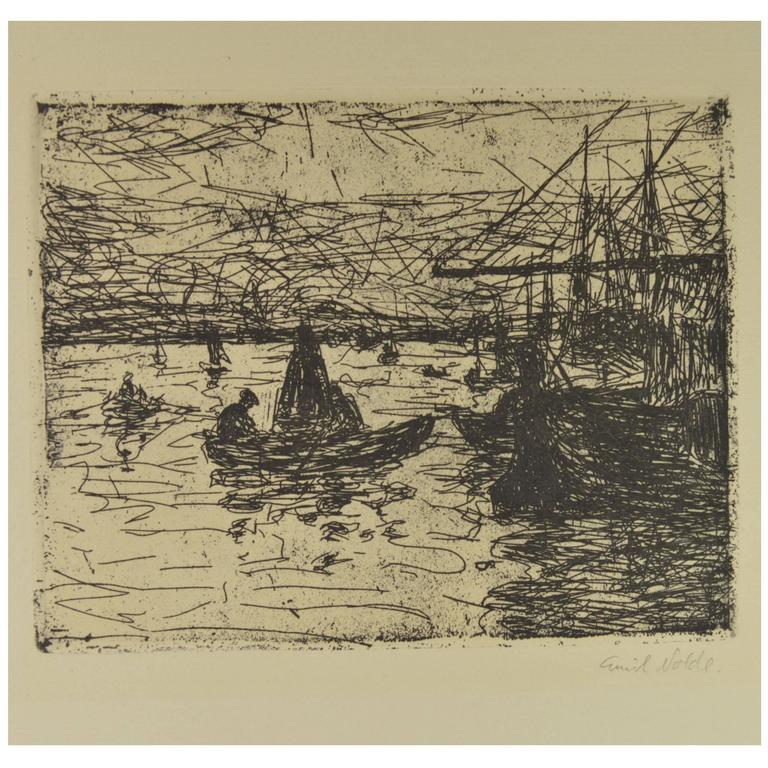 Emil Nolde Etching Harbor in Flendsburg, 1907