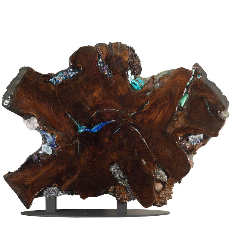 Free Standing Contemporary Art Sculpture, Claro Walnut with Crystals & Gemstones 1