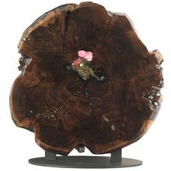 Free Standing Contemporary Art Sculpture with Claro Walnut, Crystals & Gemstones
